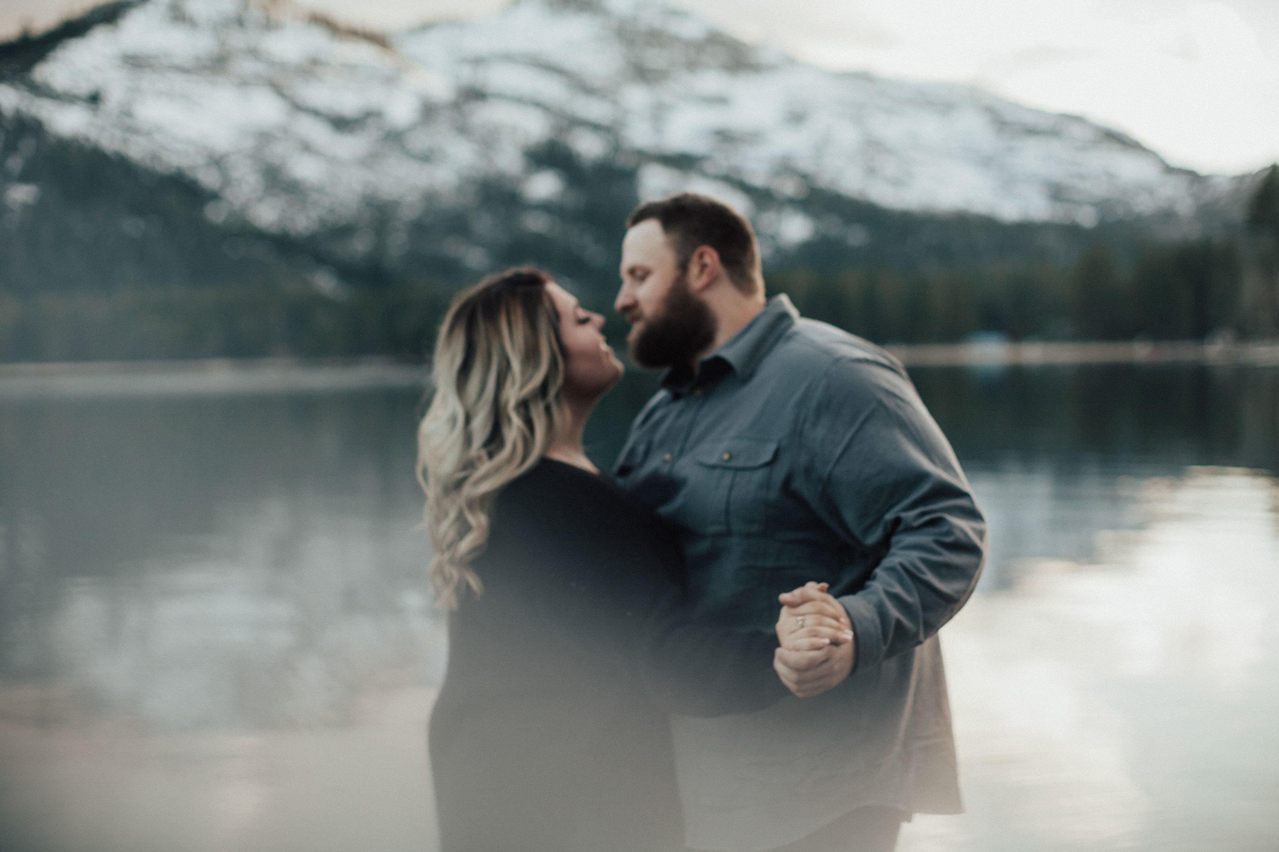 Dancing together during their engagement session.