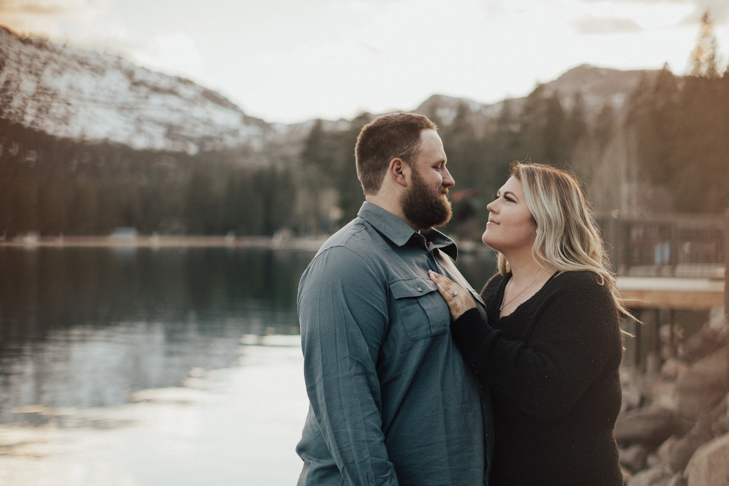 Adventurous engagement session at Donner Lake, CA.