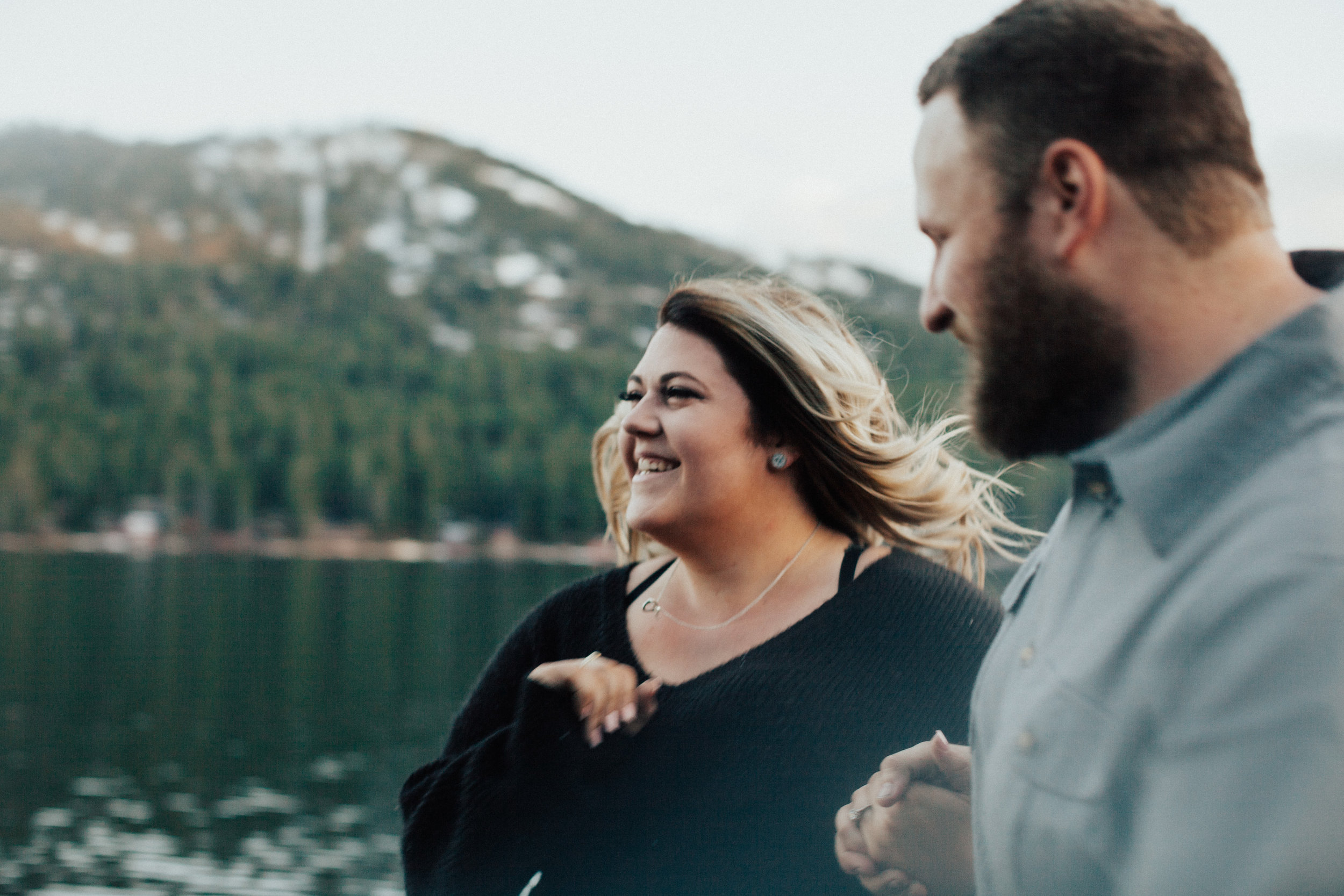 Lovers by the lake. Engagement photography in northern California.