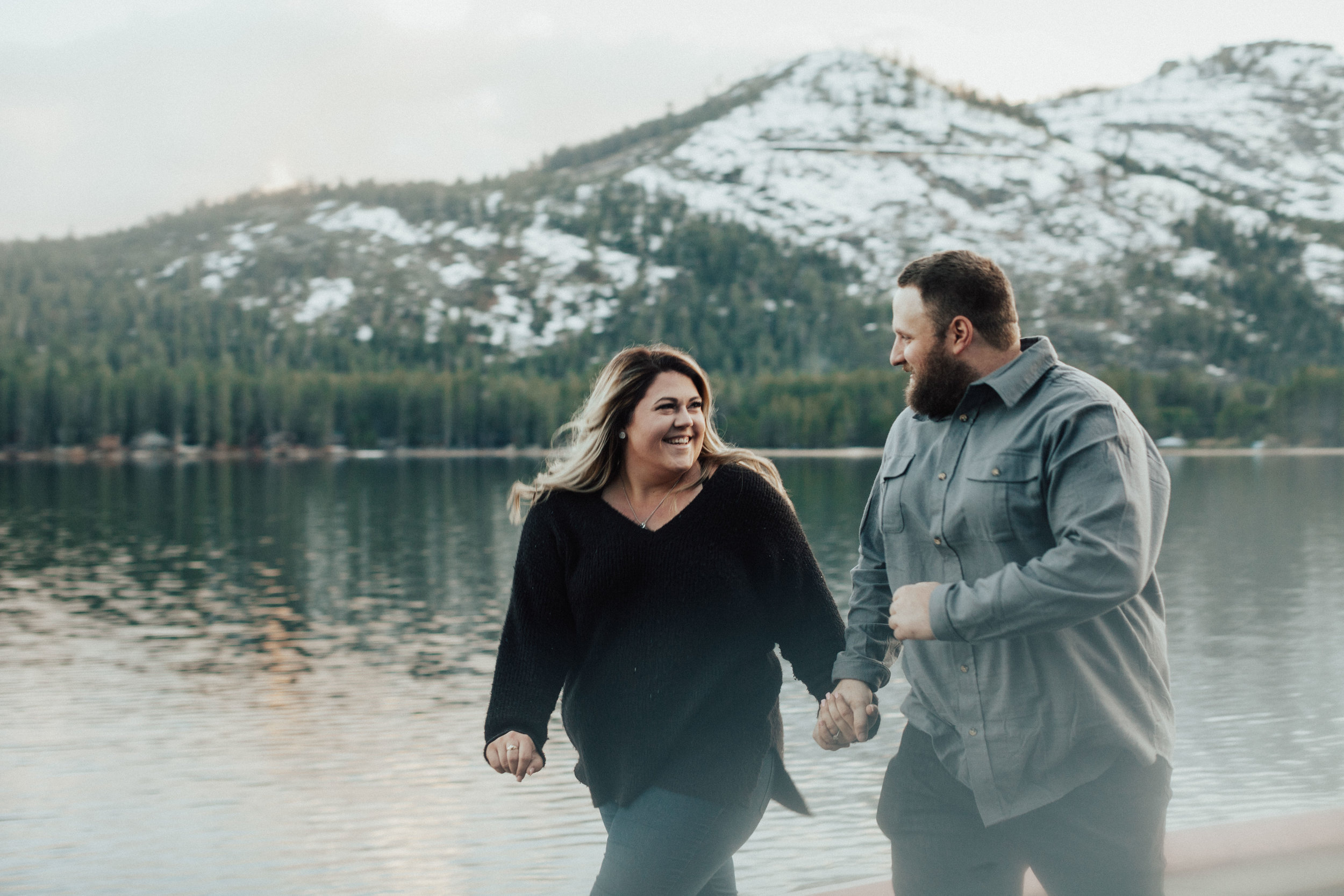 Lakeside lovers in the Donner Lake mountains.
