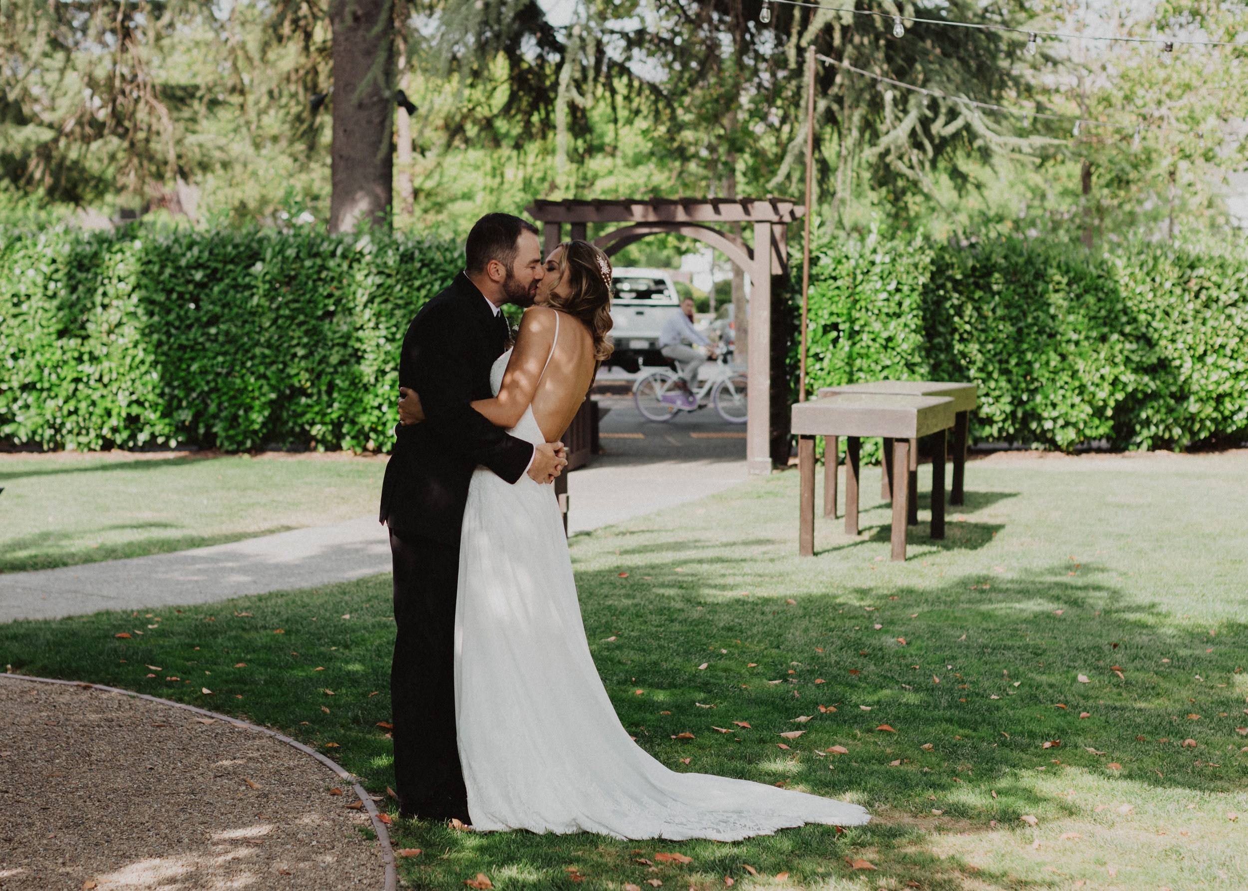 Yountville Wedding First Kiss
