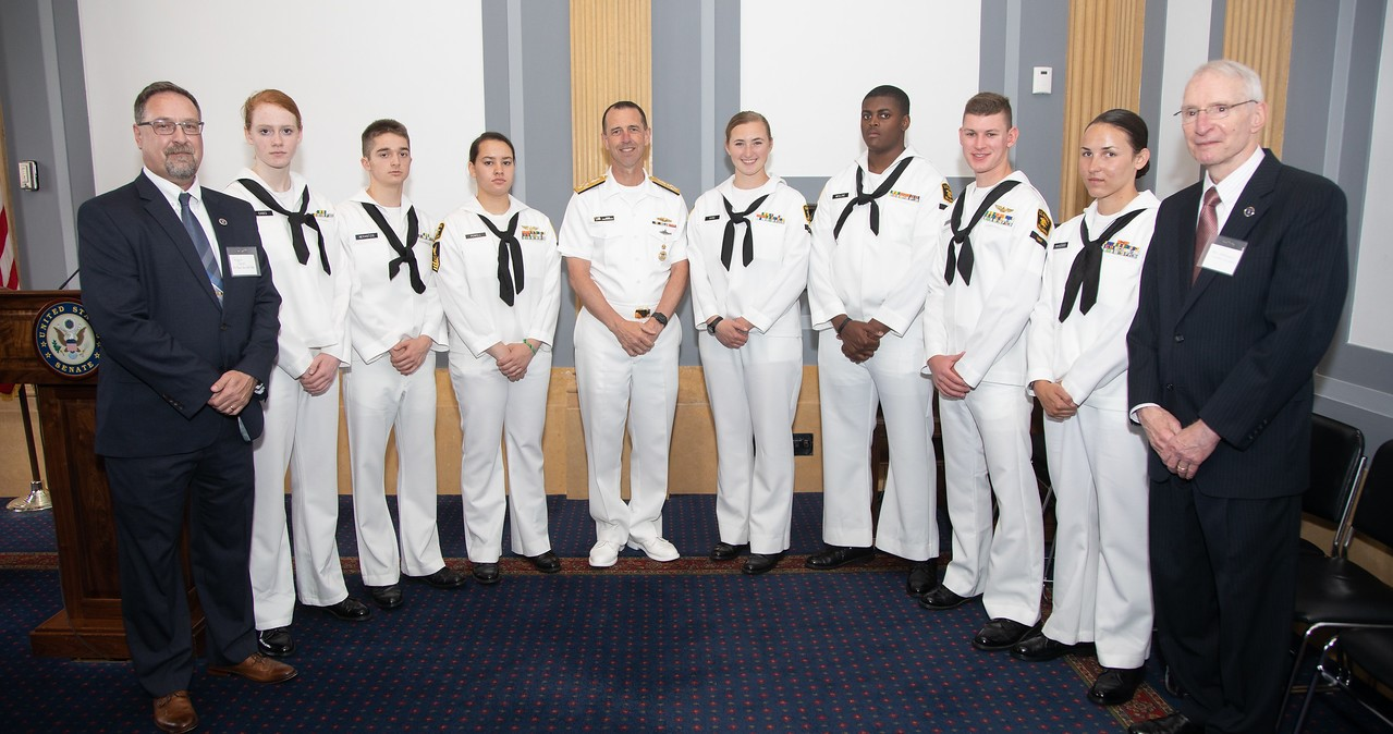 Sea Cadets with CNO Richardson and US Naval Sea Cadet Corps Senior Leaders at the US Capitol, May 2019. The Sea Cadets are the only Congressionaly-chartered military youth program and rely on US Navy funding and the support of Representatives and Senators.