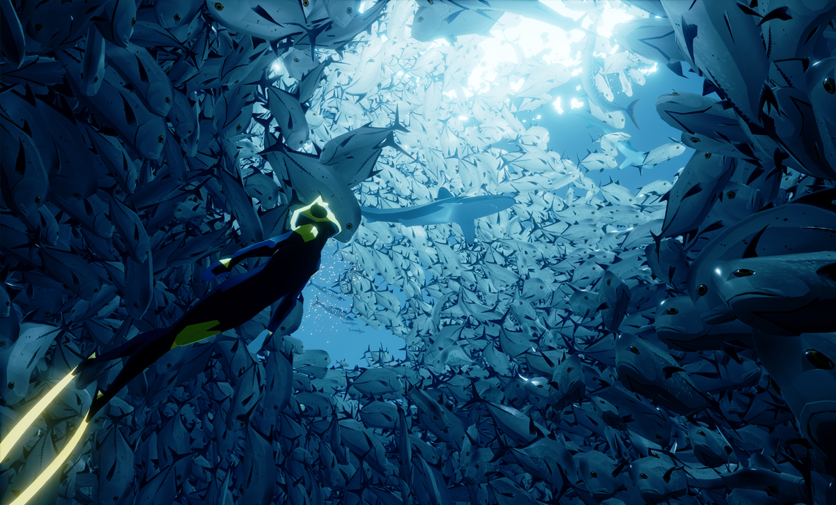 This is called a bait ball and ABZU captures these natural wonders perfectly