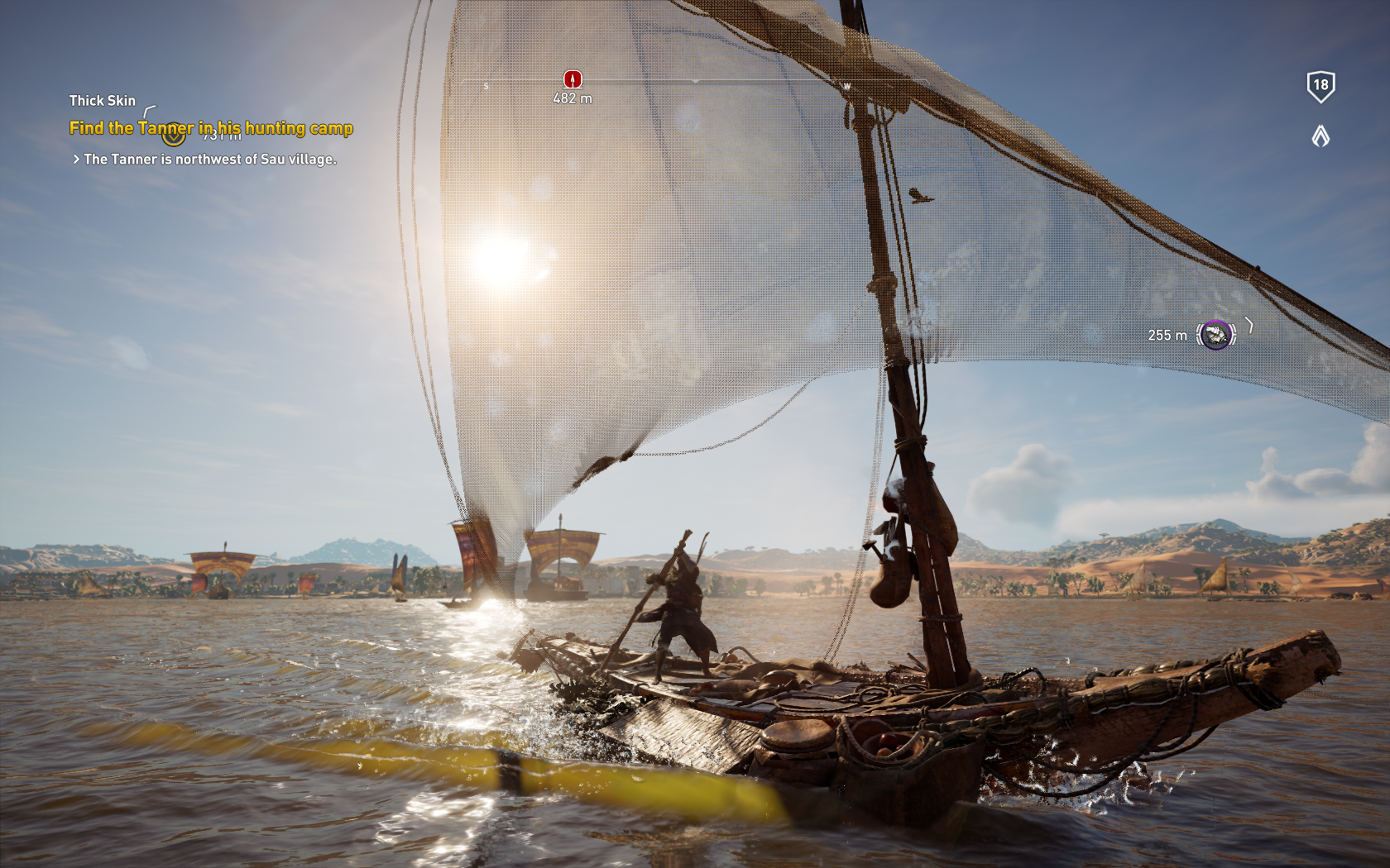 Notice how the sunlight illuminated the wake of the ship, best water ever!