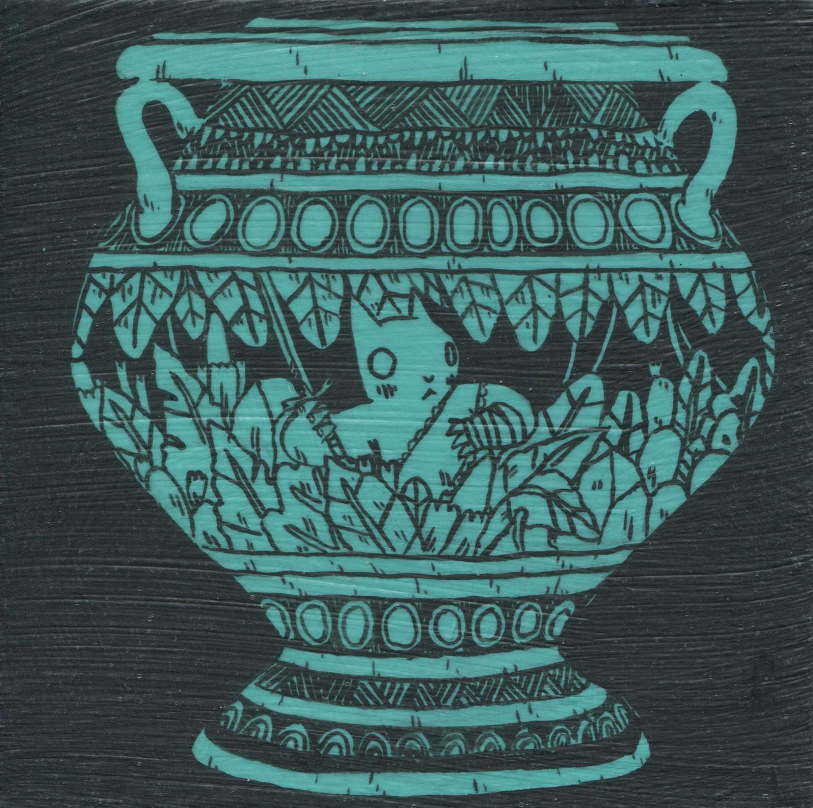 In Jungle Vase, tempera on wood, 5 x 5, $300