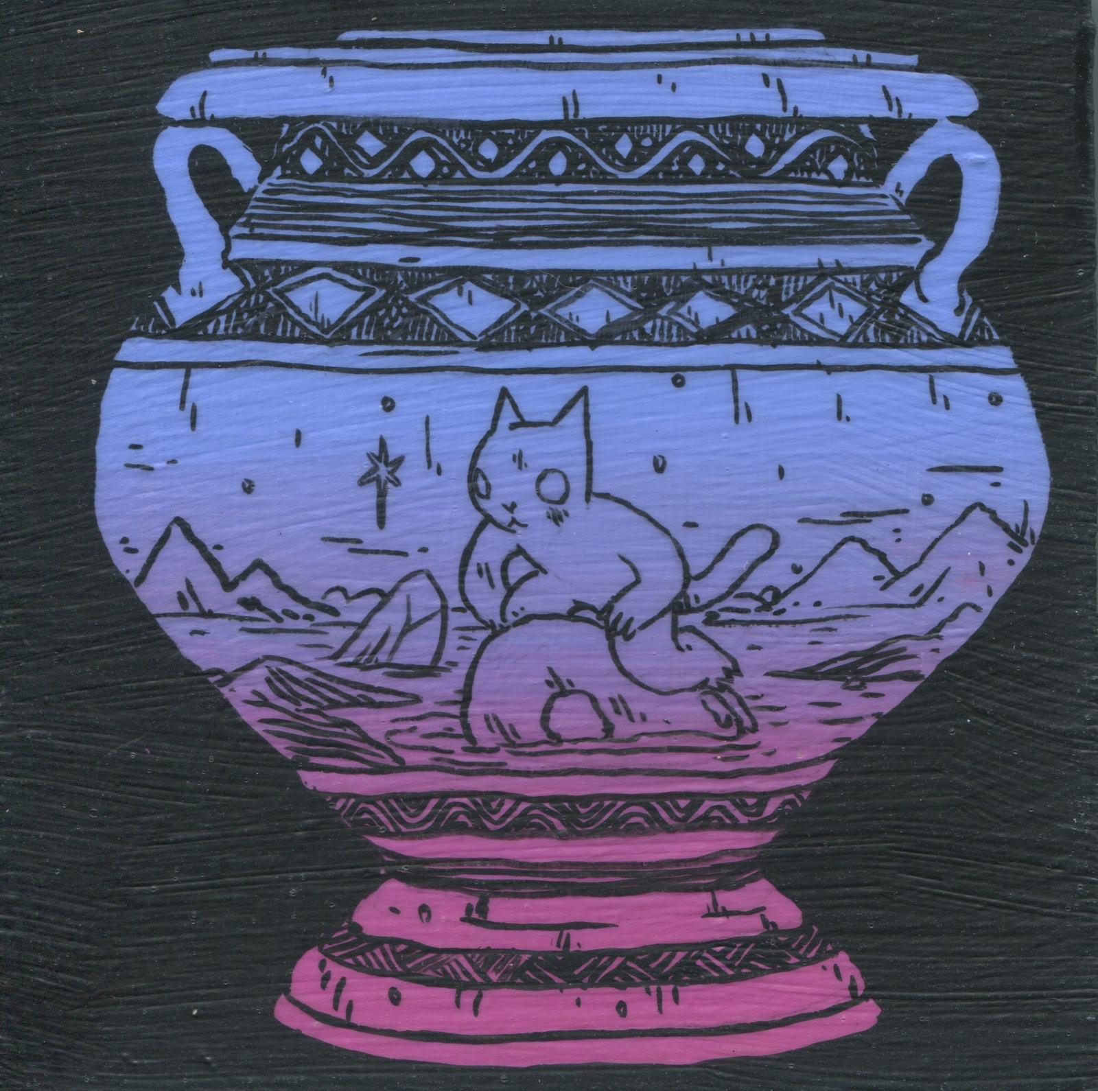 Cosmic Vase, tempera on wood, 5 x 5, $300