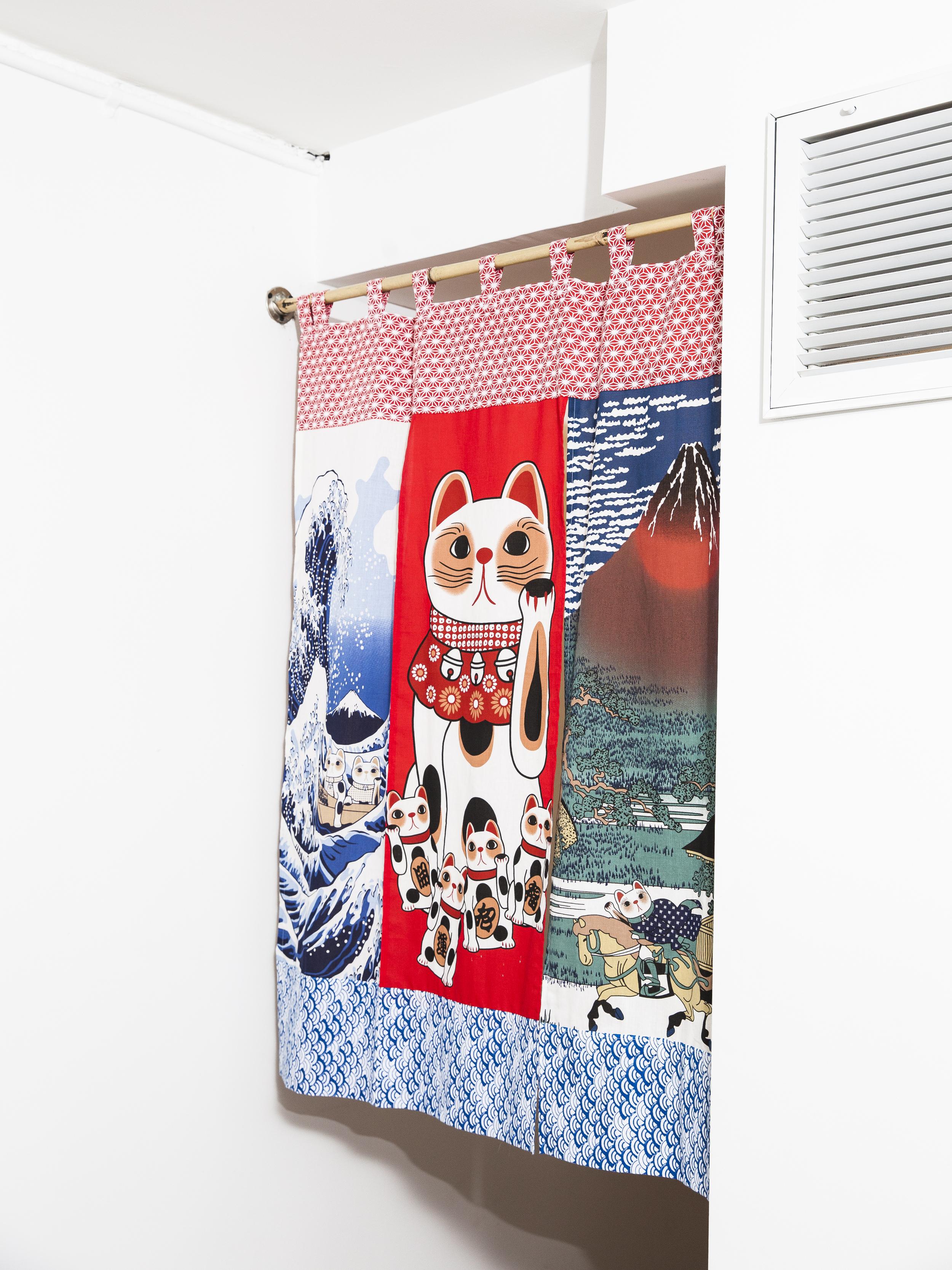 Lucky Cats Noren, hemp and cotton textiles, 36 x 5