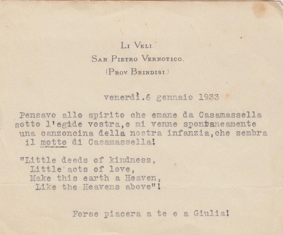 Biglietto di Harriett Luthorp Dunham a Carolina de Viti de Marco sulla scuola di Casamassella.
