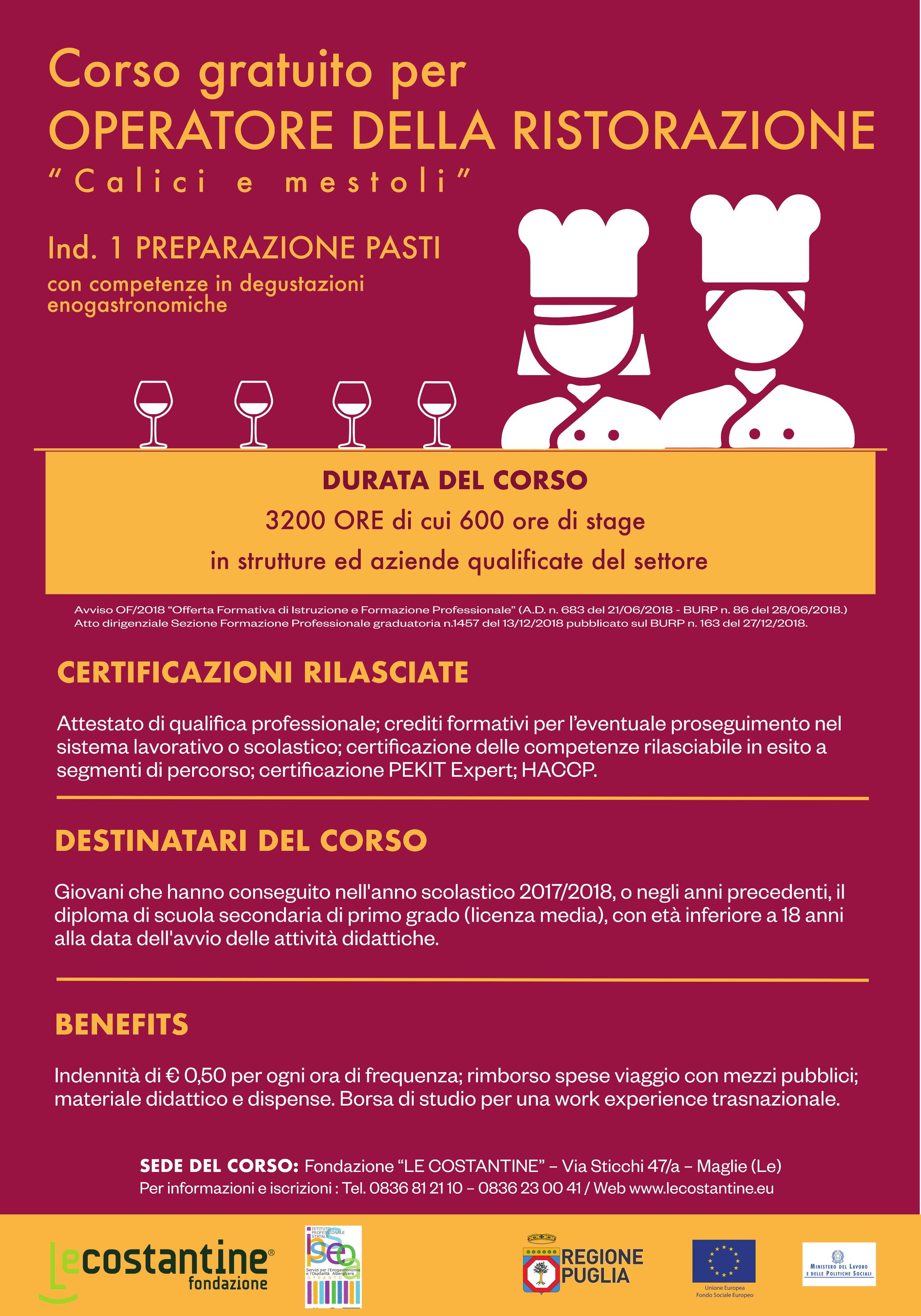 Fondazione Le Costantine - Corso per Operatore della Ristorazione Calici e mestoli