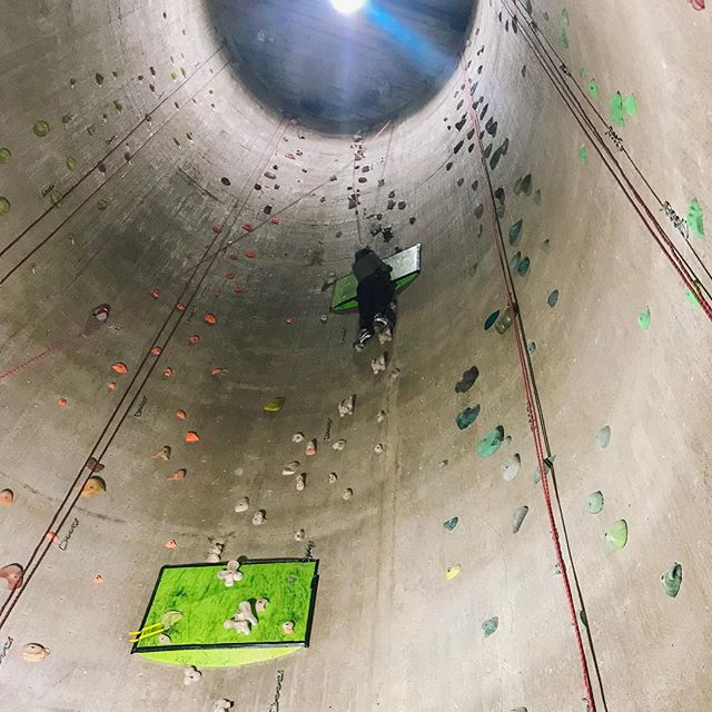 My workout today was climbing this silo.  I made it 40' before I called it a day!  It was scary, but with my man holding the rope, I knew I couldn't fall ❤️ . . . . . #indoorrockclimbing #faceyourfears #nocomfortzone #climbinggym