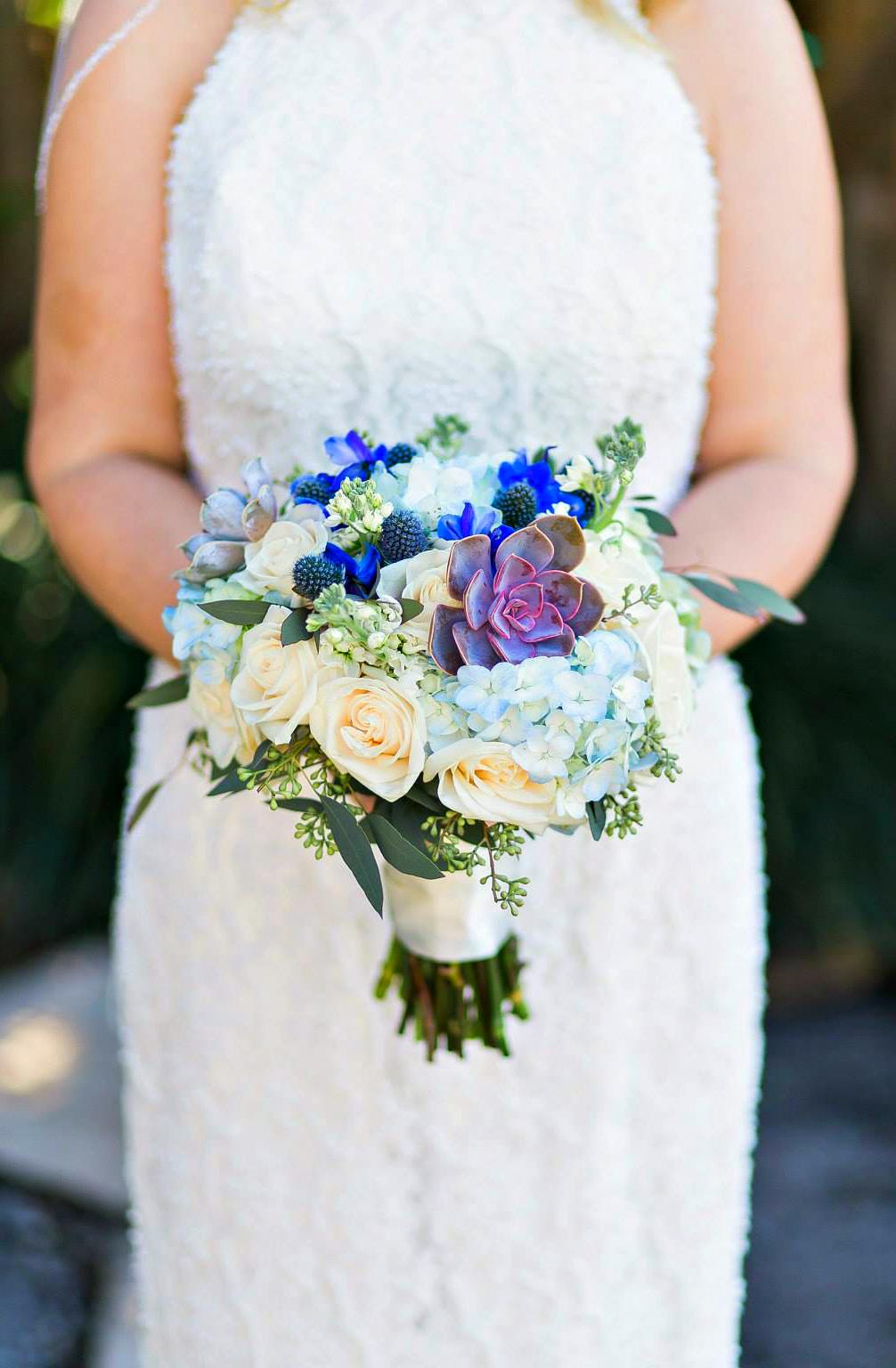 Palm Beach Wedding Flowers | Blue Bridal Bouquet | Gerilyn Gianna Floral Design