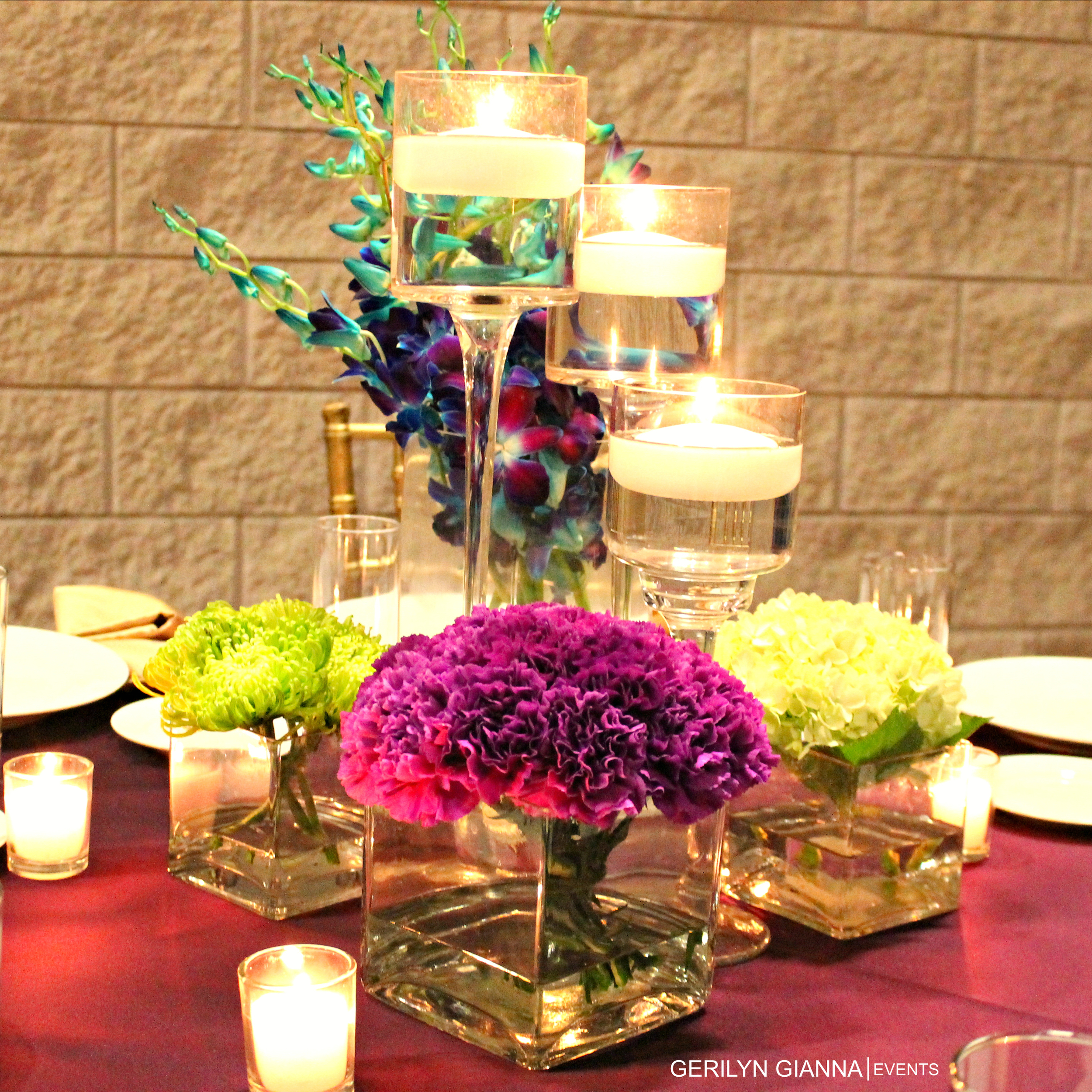 Medium Height Floral Centerpieces   Palm Beach Wedding and Event Floral Design and Decor