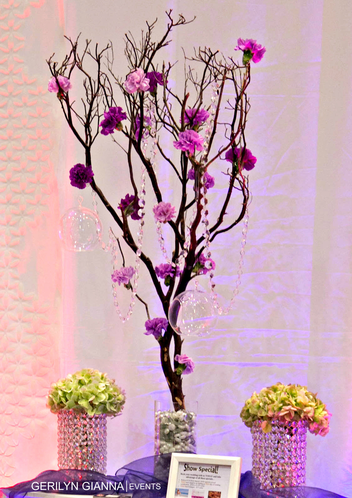 Floral Decor Using Trees and Branches   Palm Beach Wedding Florist   Gerilyn Gianna Event Design