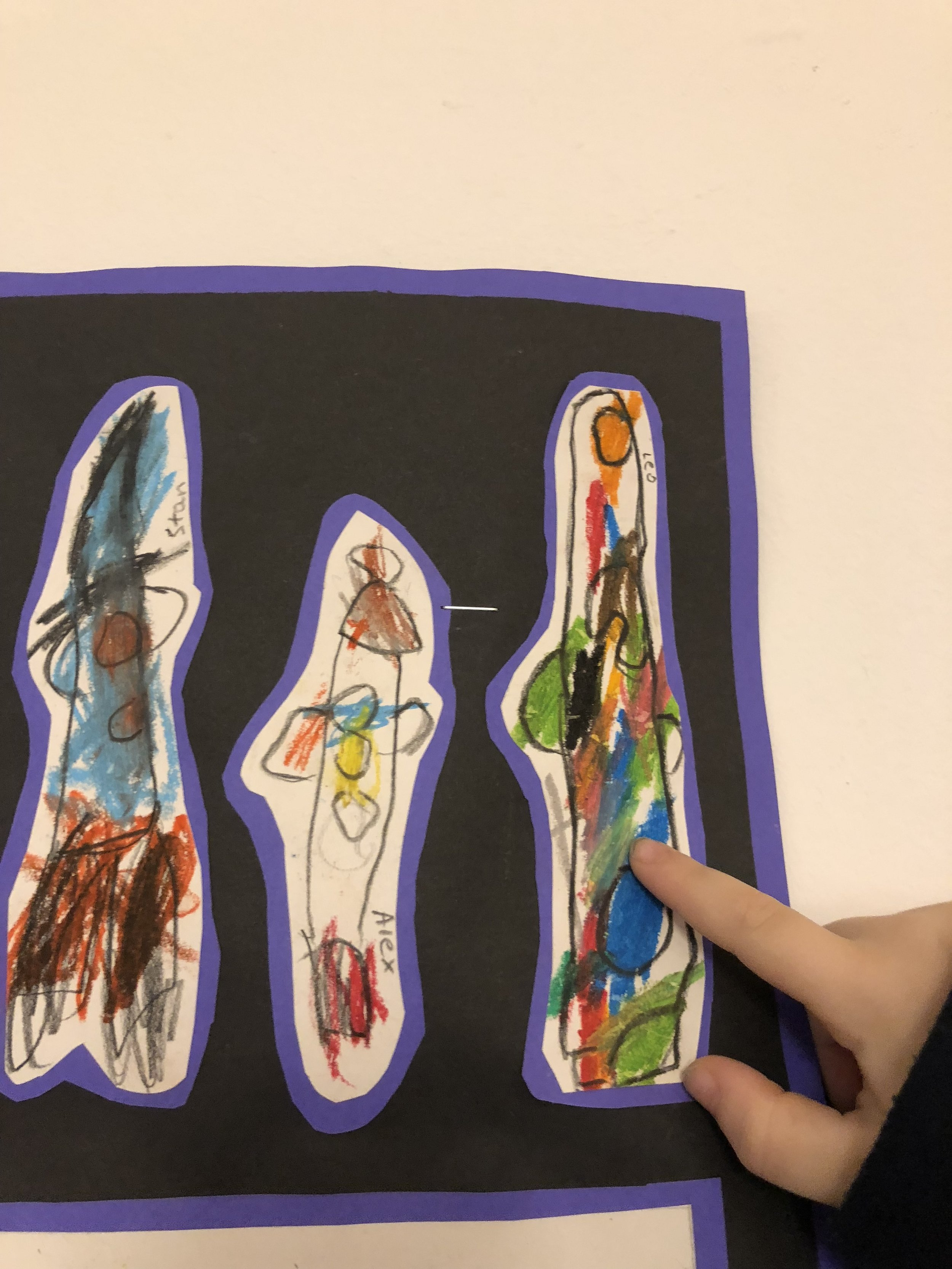 The children then gave Robi a tour of there own art work and there own self portraits inspired by I projected you.