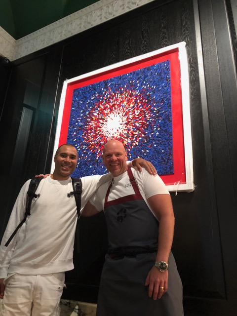 In 2017, Chef Tom Kerridge commissioned Robi to create three pieces of work for his new London restaurant Kerridge's Bar & Grill at the Corinthia Hotel. They were made using souvenir menus from foodies around the world. Robi asked Tom to help him make the feature wall piece and it's been so popular that they have now created a print of it.    The print is now available to purchase from the online shop on this website, Robi Walters Gallery and Kerridge's Bar & Grill.
