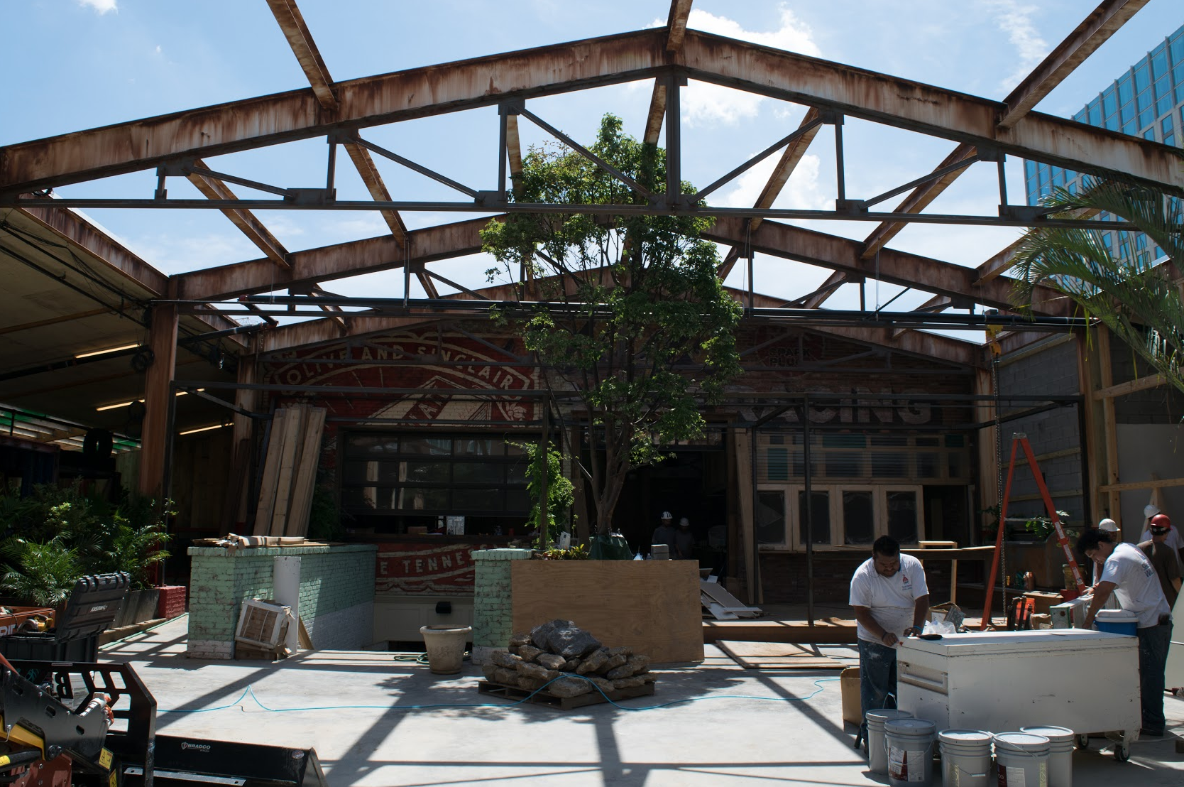 The open area backyard beer garden will be strung with lights for nighttime hang outs