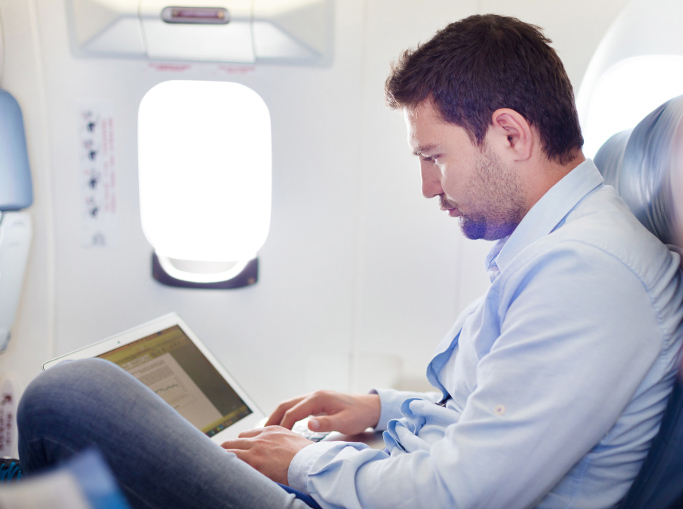 Man working on plane