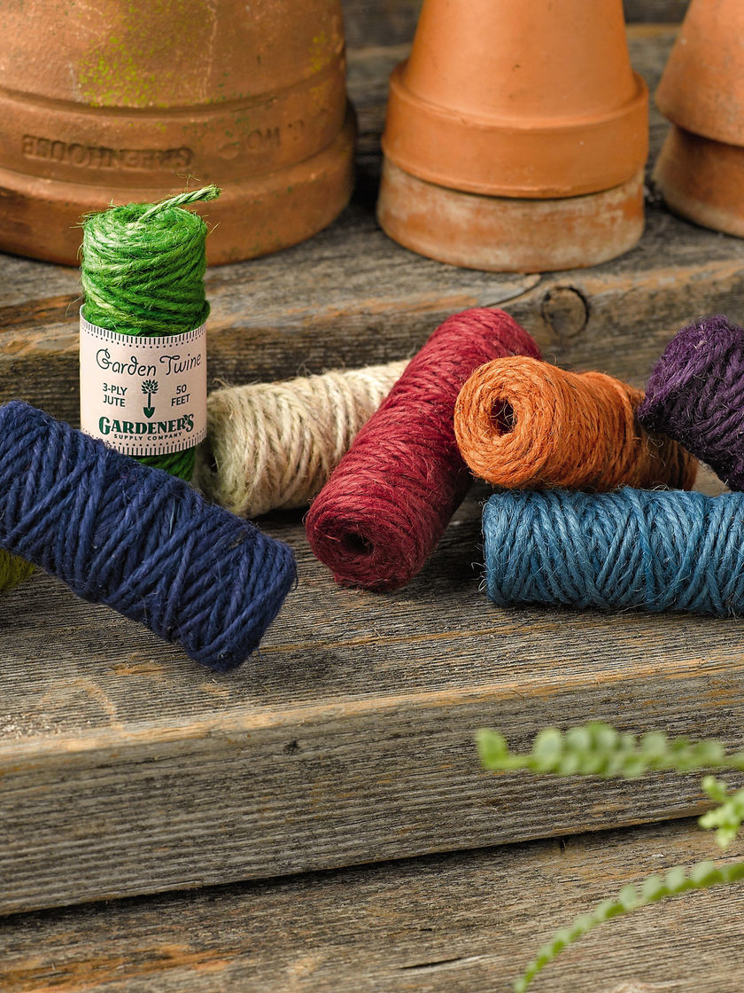 Colored twine...I use it in the garden, on gifts, and to add a bow to the mason jar I've filled with flowers. Sure, natural is great for all of that, but  who can resist these colors ??
