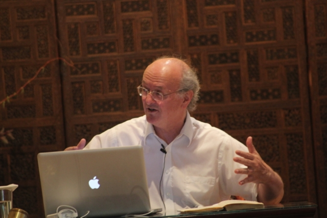 Professor Alexis Sanderson of Oxford lecturing at The Movement Center in August 2014.