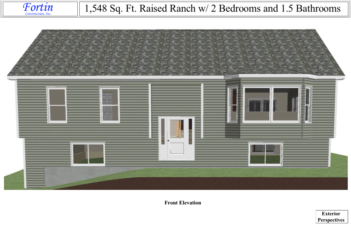 Raised Ranch House Plans | Fortin Construction — Custom Home ... on 2 bedroom cottage house plans, 2 bedroom log house plans, 2 bedroom colonial house plans, 2 bedroom a frame house plans,