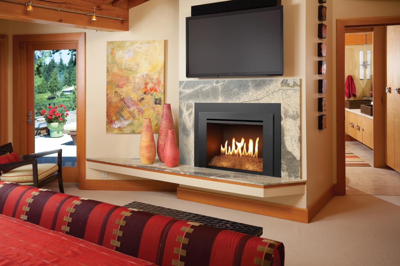 Gas Log Contemporary Glass Stone Sets Sag Harbor Fireplace