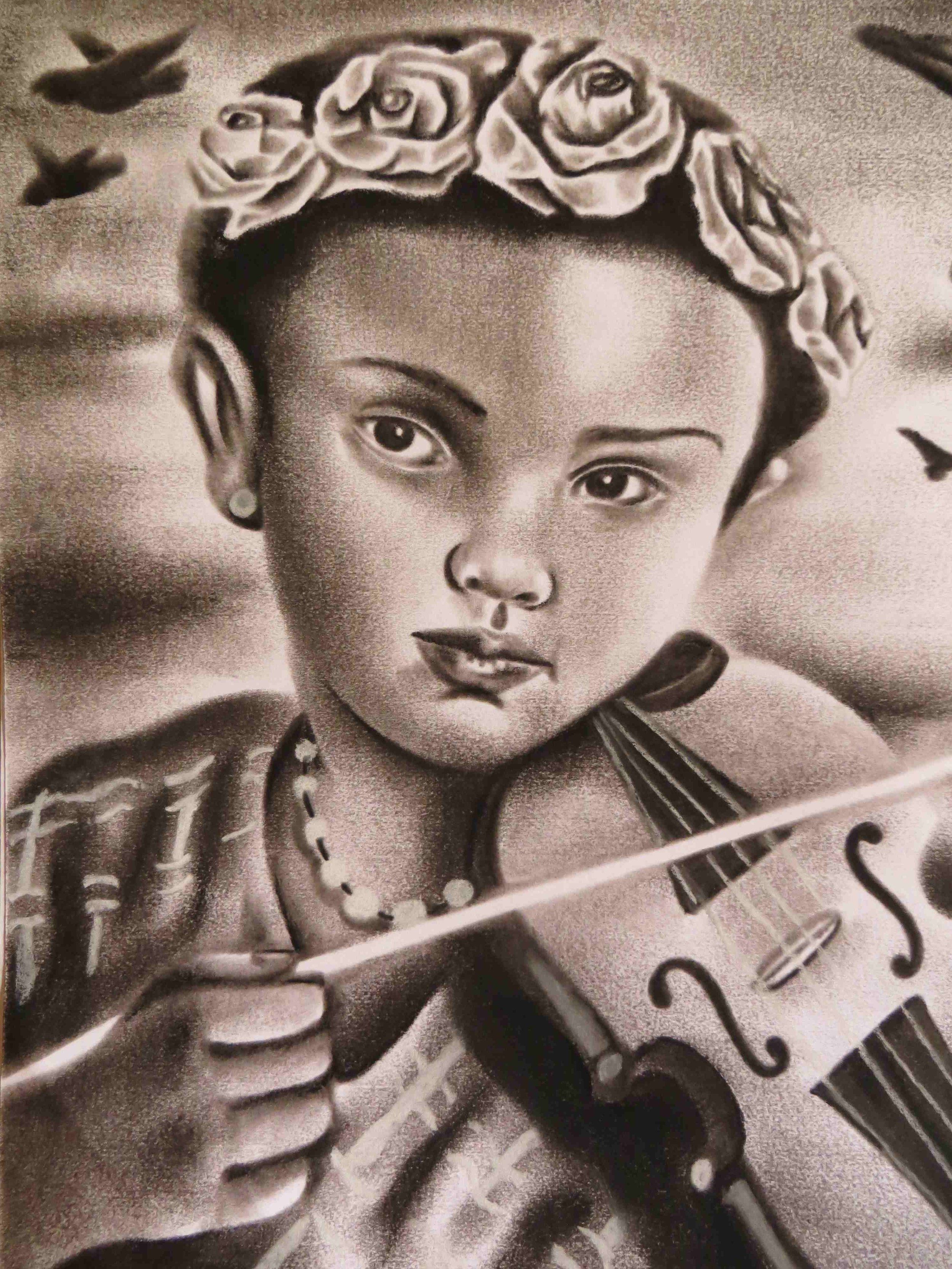 Child playing Violin by Victor Garcia