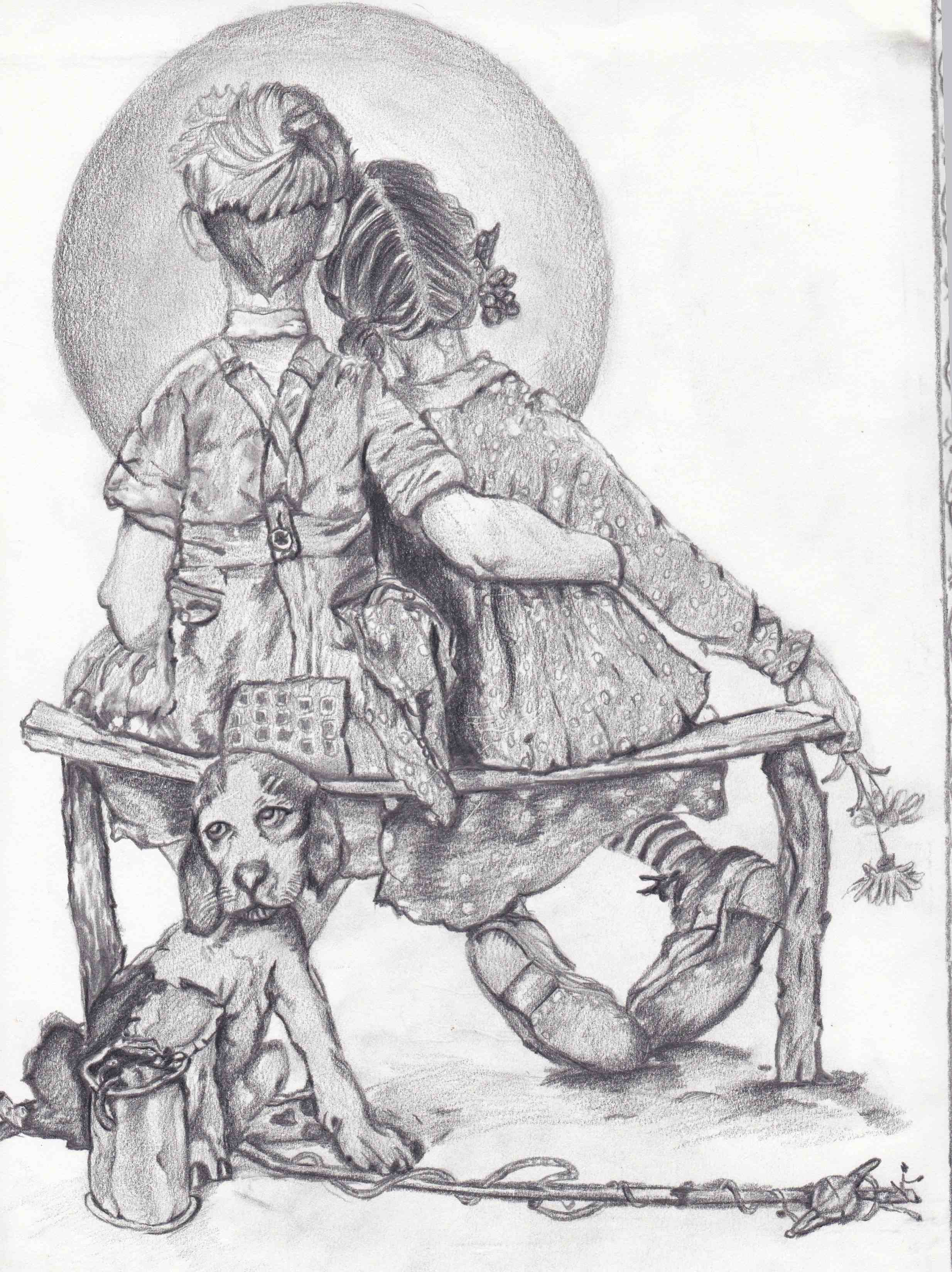 Pencil drawing by Anthony Alejos (after Norman Rockwell)-Drawing after Normal Rockwell in pencil by Anthony Alejos Avenal CA.jpg