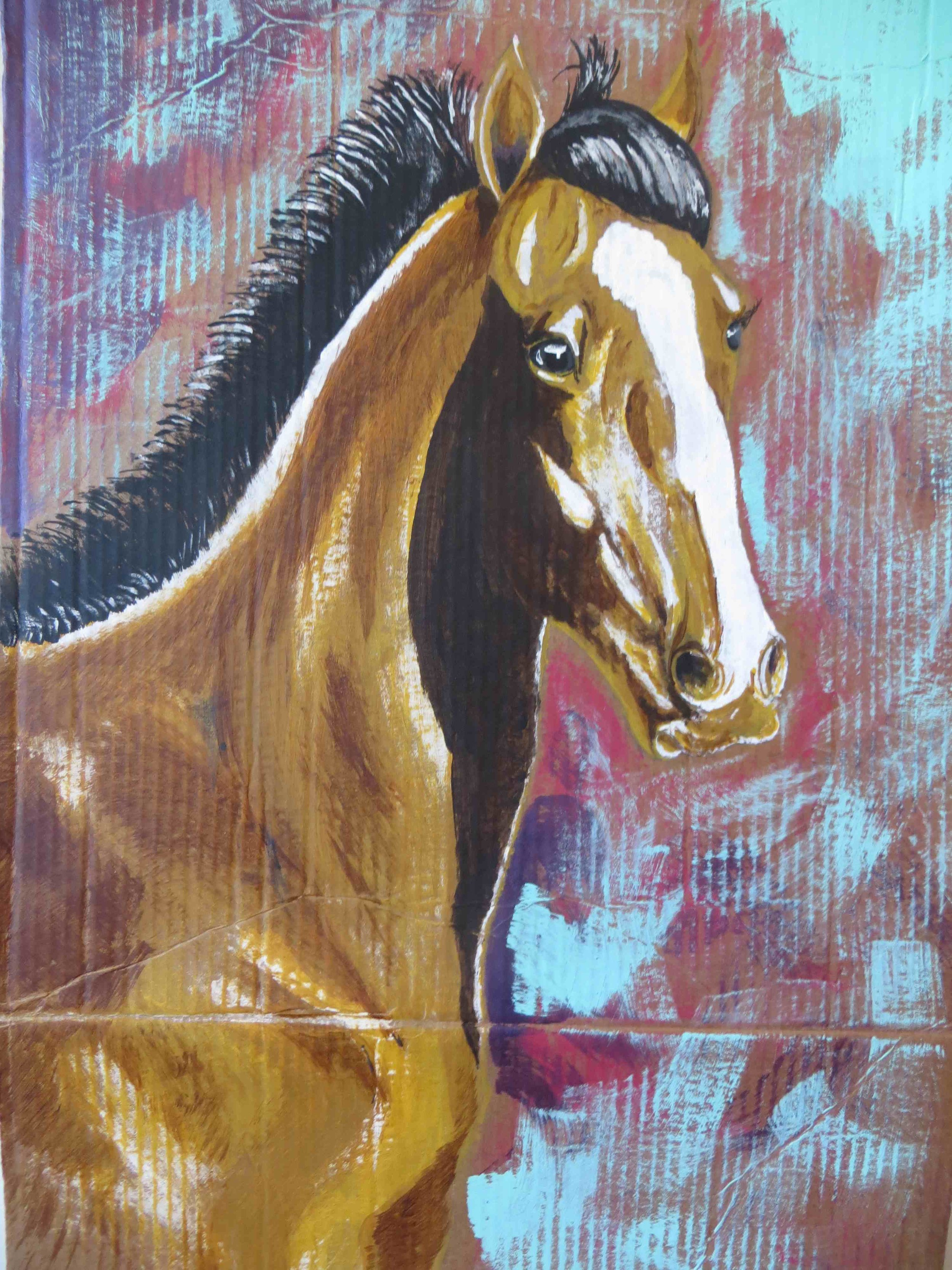 Acrylic Horse painting on Corrugated Cardboarde by Jesse -001 - Copy.jpg