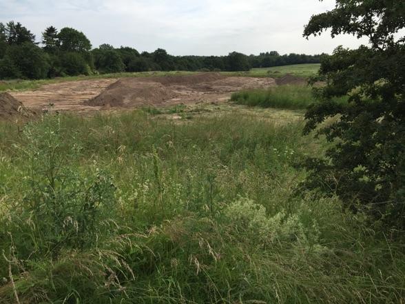 Det der graves ud til, er et større regnvandsbassin, som skal etableres syd/øst for den kommende bebyggelse ned mod Drabækken. Foto: AOB