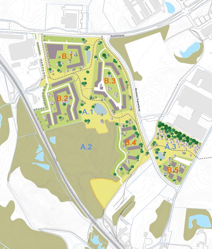 Ovenstånde plan er fra forslaget, hvor AOB har tilføjet koden for de tre grønne områder (A) og de fem byggefelter (B).