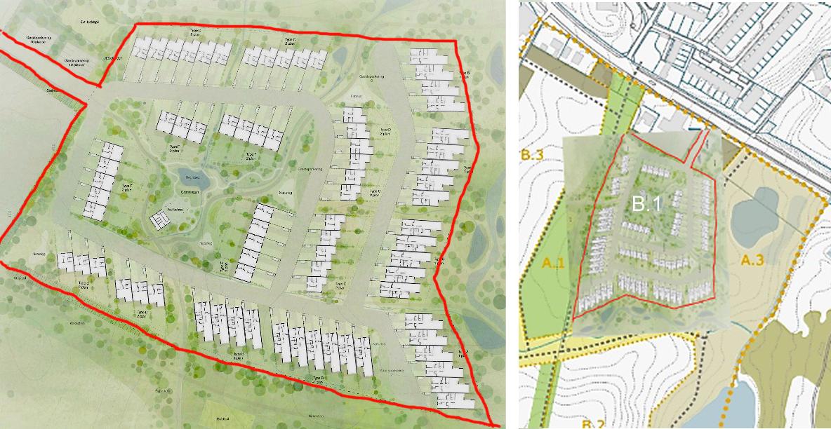 På den viste plan har vi markeret byggefeltet B.1 med rødt. Planen er vist med øst opad, men hvis man drejer planen 90 grader, kan den fint indpasse i udbudsmaterialets markerede felt for B.1.