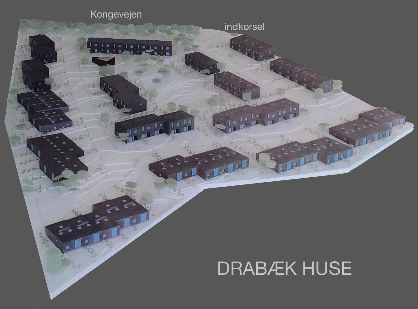 Bonavas model af Drabæk Huse. Den  viser meget tydeligt, hvilke huse der er i et plan og hvilke der er i to etager. Foto:AOB