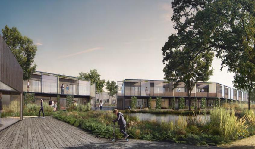 Lokalplanen giver mulighed for, at området kan anvendes til helårsboligformål i form af tæt-lav samt etageboliger i 2 planer. Der kan i alt opføres 163 boliger. Illustration fra lokalplanforslaget.