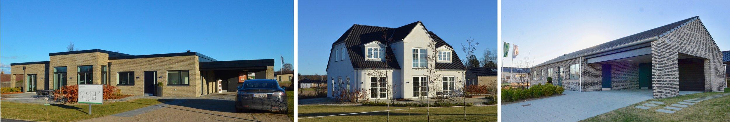 Tre af de huse, som HusCompagniet har opført i udstillingsbyen i Hillerød. Foto:AOB