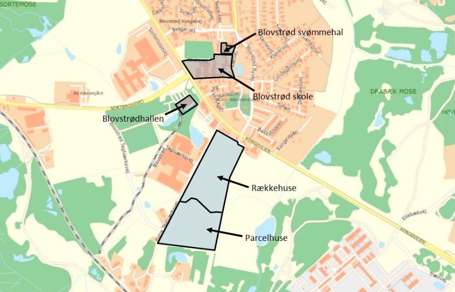 De fem forsyningsområder er her markeret, og består af tre af kommunens ejendomme (Blovstrødhallen, Blovstrød Skole og Blovstrød Svømmehal) samt de to boligområder Frugtlunden (rækkehuse) og Grønningen (parcelhuse).