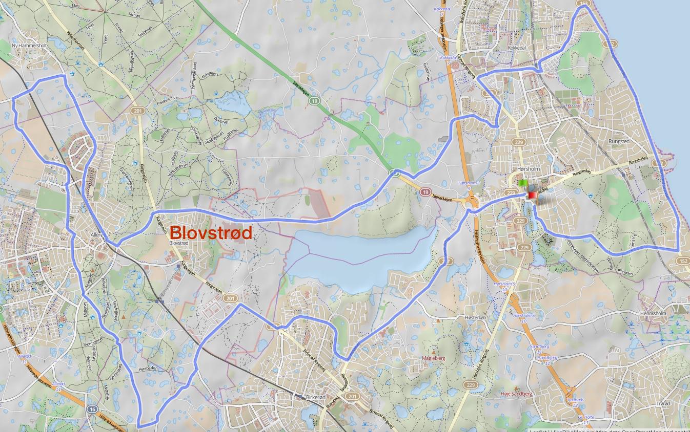 Denne rute er på 50 km og passerer Blovstrød på Sandholmgårdsvej.