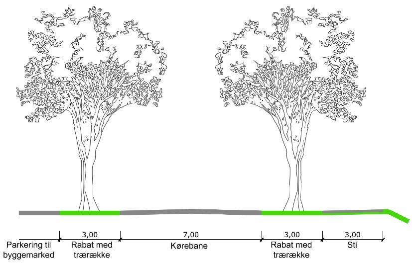Langs den nye adgangsvej anlægges en dobbeltrettet fællessti i eget tracé, med en bredde på 3 meter og to gange rabat i 3 meters bredde med lindetræer. Illustration: Via Trafik