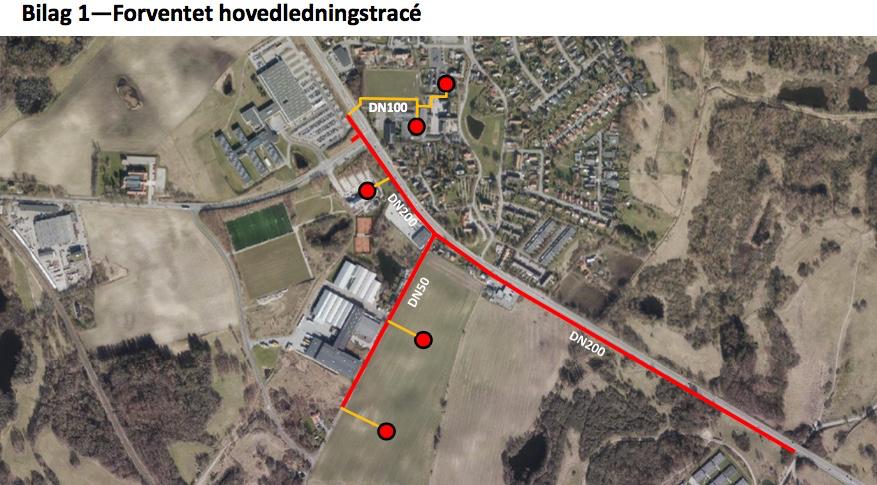 I/S Norfors' plantegning fra projektforslagets reviderede udgave viser, at hovedforsynings-ledningen i hele sin udstrækning er planlagt liggende langs Kongevejen.