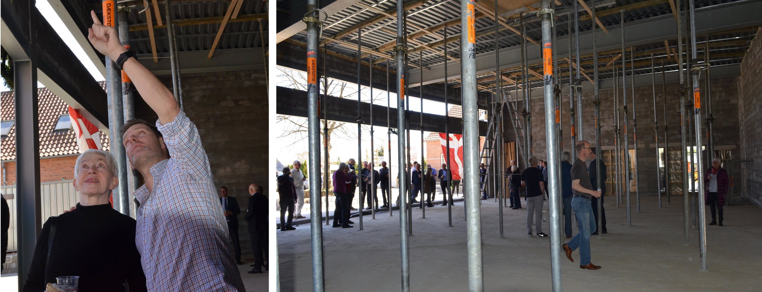 Taget på den selvstændige koncertssalsbygning er midlertidig understøttet af en række stålsøjler. Først om ca. 14 dage kan søjlerne demonteres, når betonkonstruktionen er hærdet. Fotos:AOB