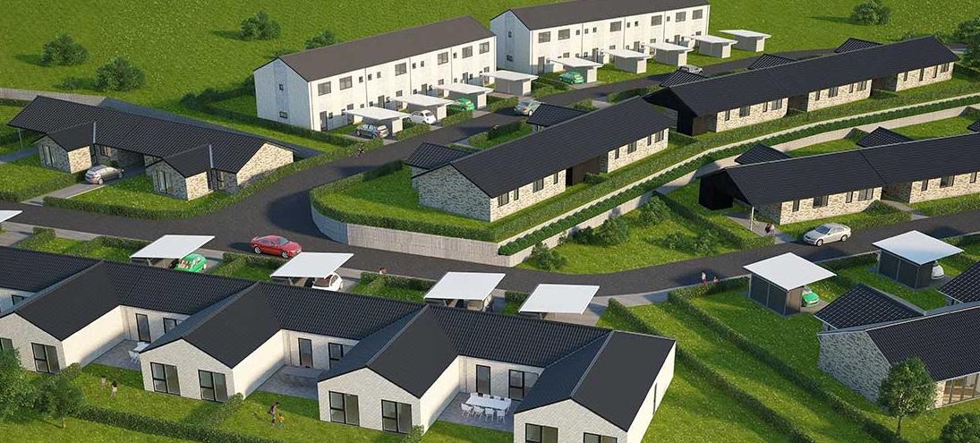 Sådan forestiller arkitekterne fra HusCompagniet sig,at rækkehusbebyggelsen ved Frugtlunden vil tage sig ud. Bemærk at bebyggelsen indpasser sigt til det faldende terræn.  Illustration: HusCompagniet