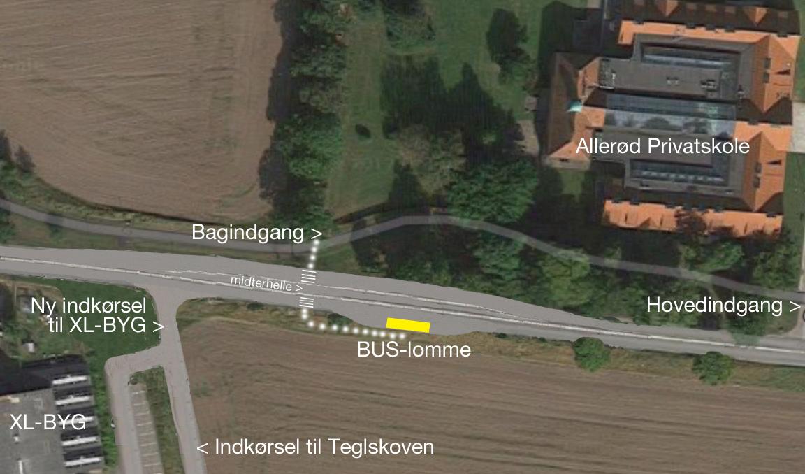Principskitse, som viser, hvor buslommen bliver placeret. Men der havde også været rigelig med plads til også at udføre en buslomme på modsatte side. Bemærk i øvrigt, den nye indkørsel til XL-byg, som samtidig bliver adgangsvejen til bl.a. Teglskovens bebyggelse.Illustration: AOB