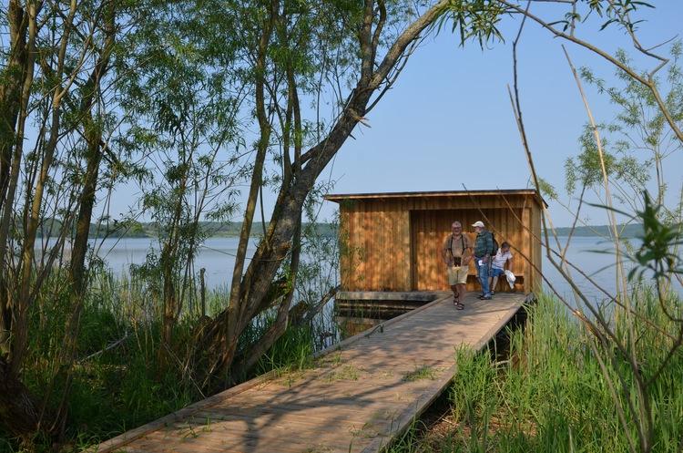 PåSjælsøstien er der anlagt en sidegangbro ud til et fugleskjul, som giver mulighed for bl.a. at studere søens fugle på nært hold uden at skræmme dem op. Foto: AOB