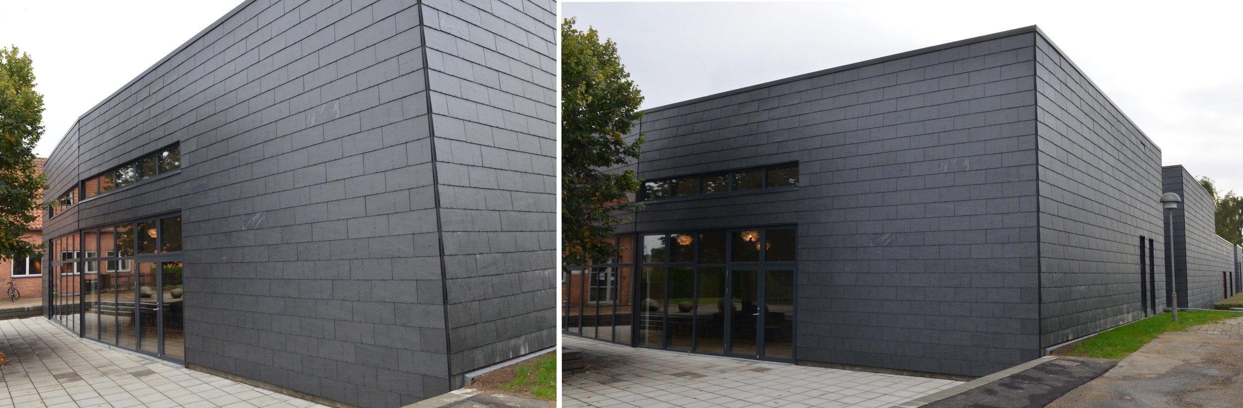 Foto 1: Kigger man langs facaden, vil man opdage, at facaden 'knækker'. Det skyldes, at de indvendige modstående vægflader ikke udføres parallelle for at undgår lyd-refleksioner. Foto 2: Som det ses, er koncertsalen udført som en separat enhed, men facadebeklædningen er udført svarende til de øvrige nye facader. Fotos: AOB