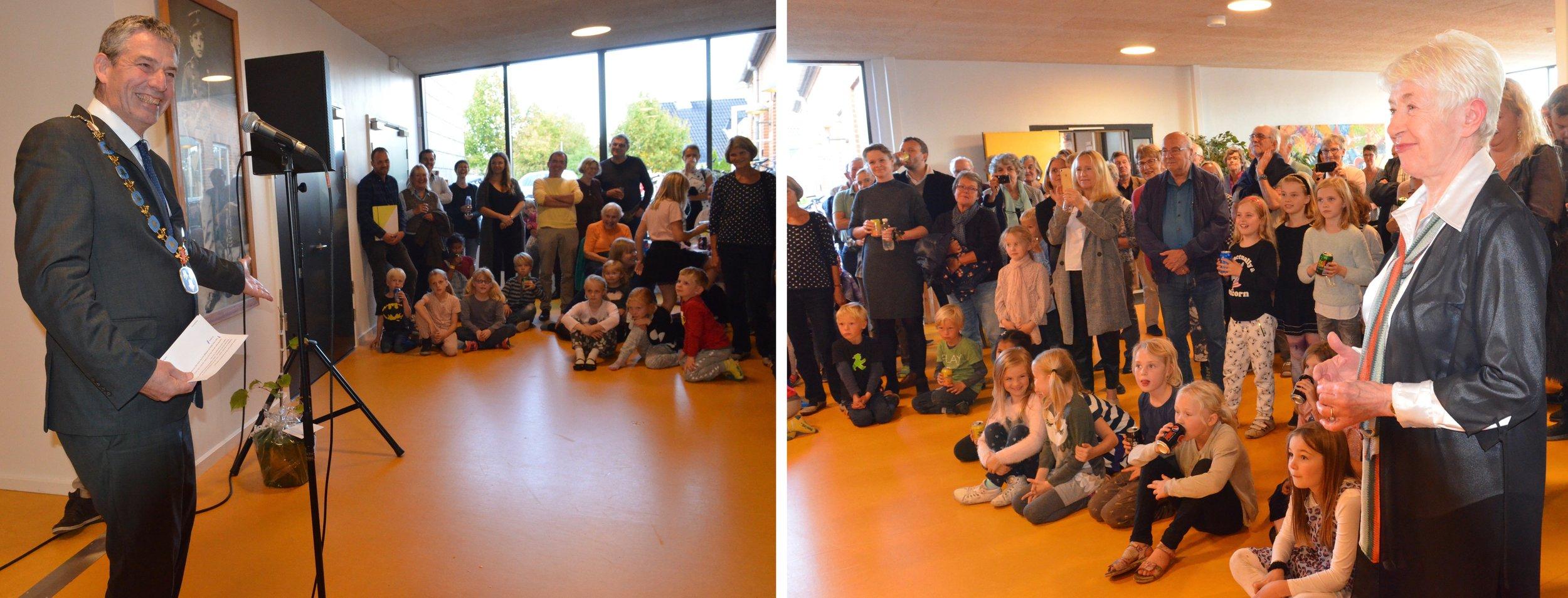 Borgmester Jørgen Johansen ønskede alle tillykke med den nye, flotte koncertsal - og med en speciel stor tak til Tonna Nielsen. Foto: AOB