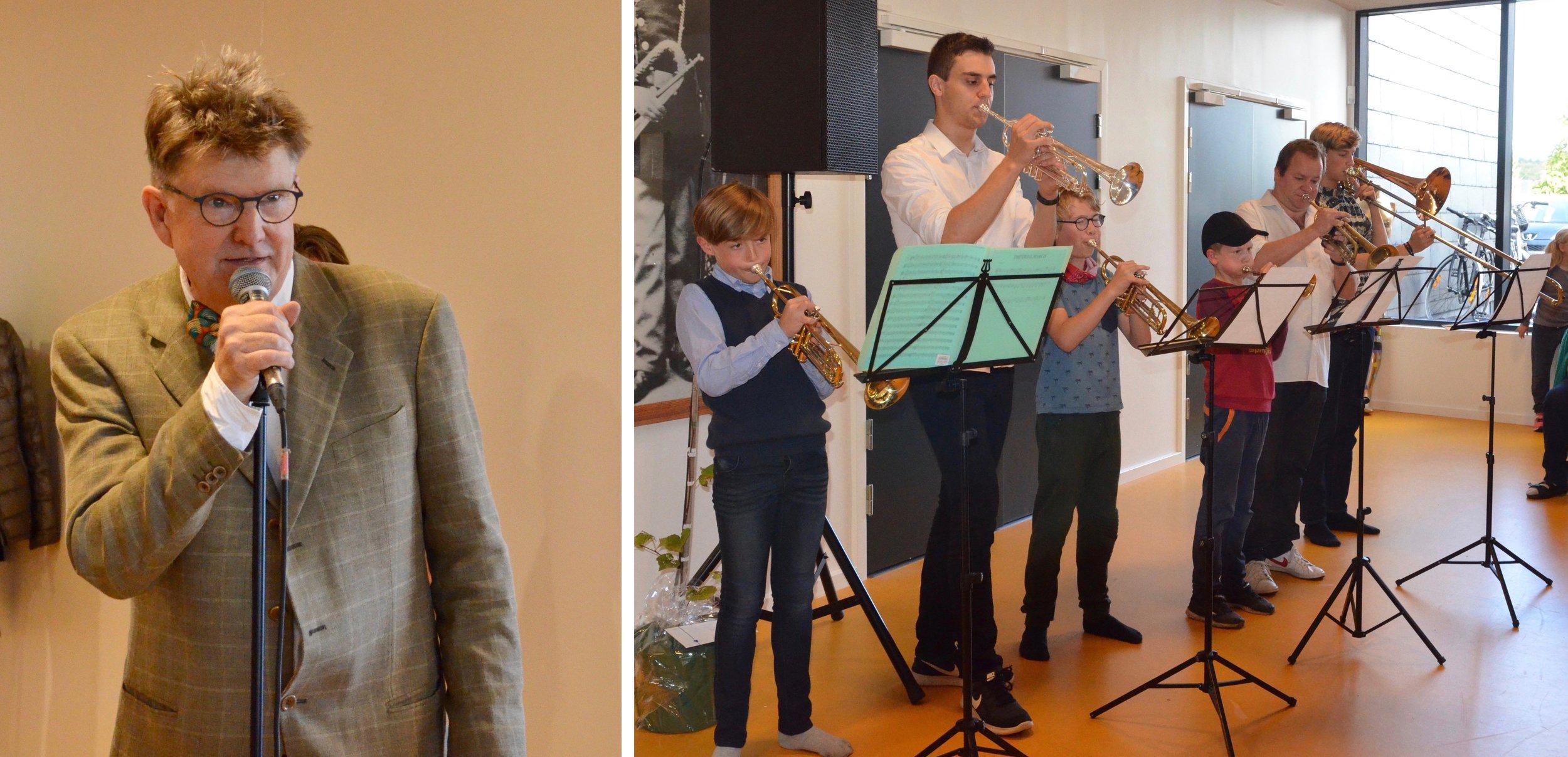 Musikskoleleder Lars Peter Nielsen bød velkommen, hvorefter messingblæsere gav en festlig fanfare.  Foto: AOB