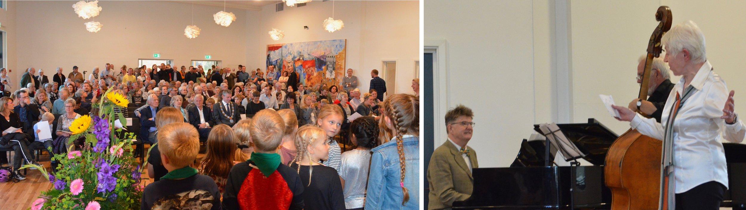 Den nye koncertsal var fyldt til sidste plads under indvielsesprogrammet, der omfattede en række musikalske indslag. Og her overraskede Tonna Nielsen alle ved at synge en sang om, hvor god en dag det var. Foto: AOB