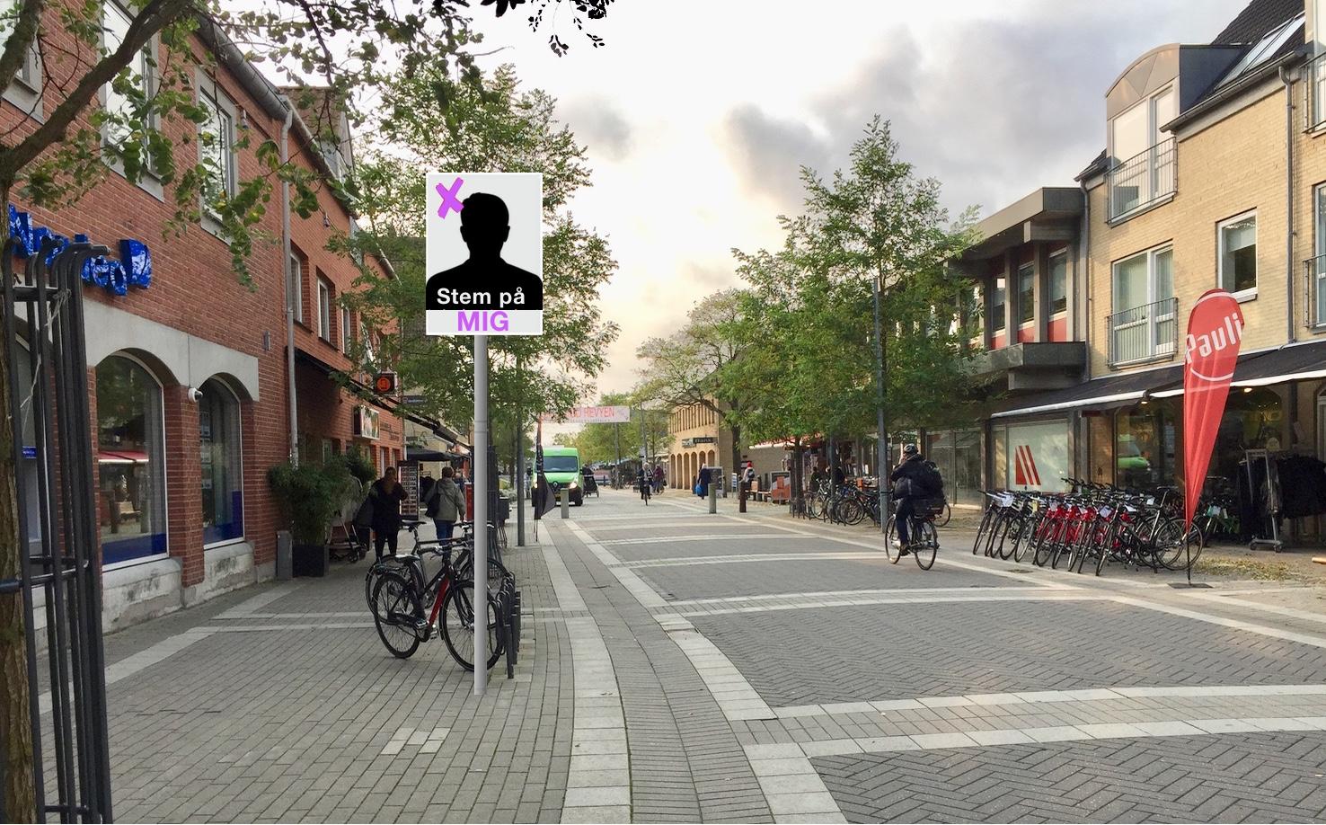 Det varer ikke ret længe før valgplakaterne kommer op på M.D. Madsensvej, men denne gang får hvert parti kun lov til at ophænge én plakat. Placeringen af de enkelte plakater sker ved lodtrækning. Fotomanipulation: AOB