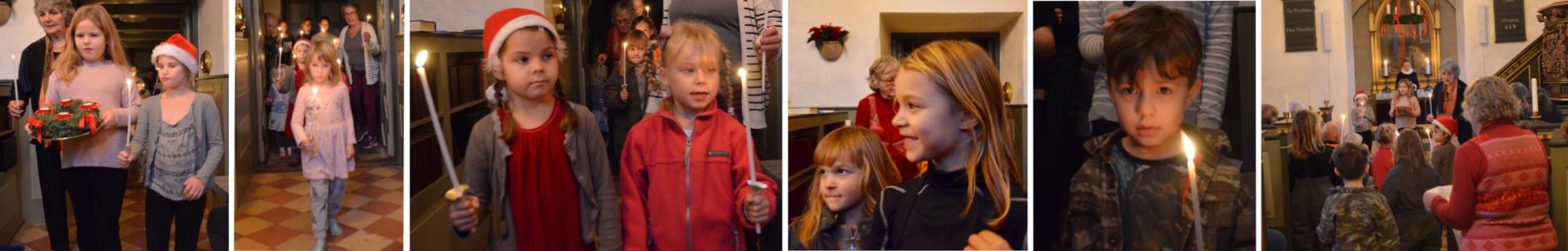I går var det 1. advent-gudstjeneste,der som altid indledes ved at byens børn bærer lys ind i kirken. Fotos: AOB
