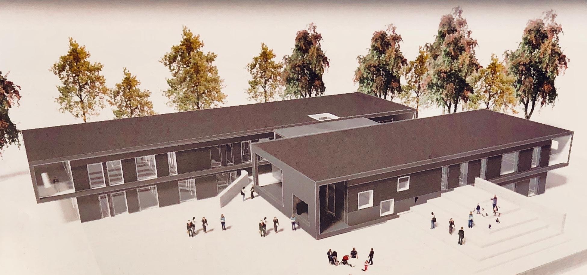 Sådan kommer det nye Børnehus 1 i Blovstrød til at præsentere sig ud mod Kongevejen. Illustration: Rubow Arkitekter