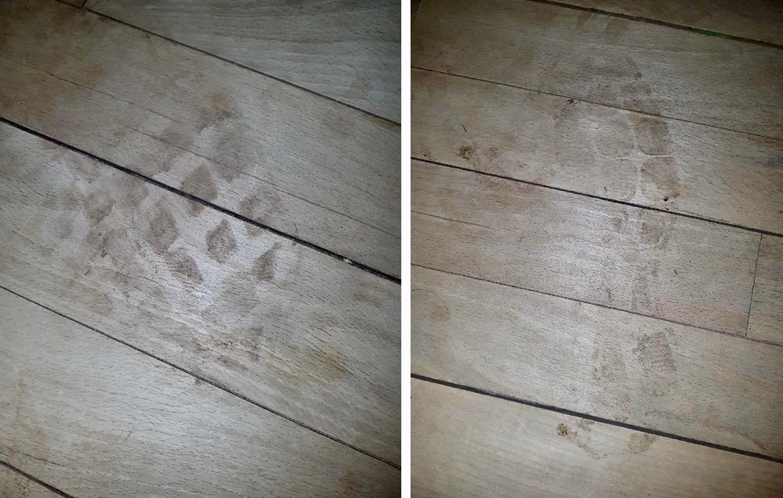 Politiet har registret, at der har været tale om to personer, idet der er fundet klare sålaftryk inde på stuegulvet.  Foto: Bernt Farver